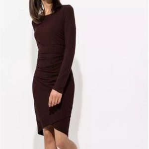 Kit and Ace Meadow Ruched Cashmere Dress Wine SM